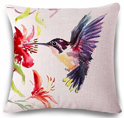 Painting Bird Hummingbird Throw Pillow Case Cushion Cover Decorative Cotton Blend Linen Pillowcase for Sofa 18