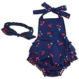 iEFiEL Pelele de Flores de Cerezas Mono para Bebé Niña Fiesta Bautizo Cuello Haltar Estilo de Vestido Algodón con Banda de Cabeza Azul Marino 12 meses
