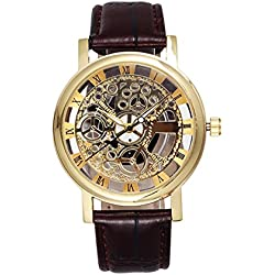 Men's Hollow Engraving Brown PU Leather Strap Steampunk Wrist Watch-Gold