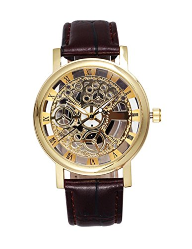 Men's Hollow Engraving Brown PU Leather Strap Steampunk Wrist Watch-Gold steampunk buy now online
