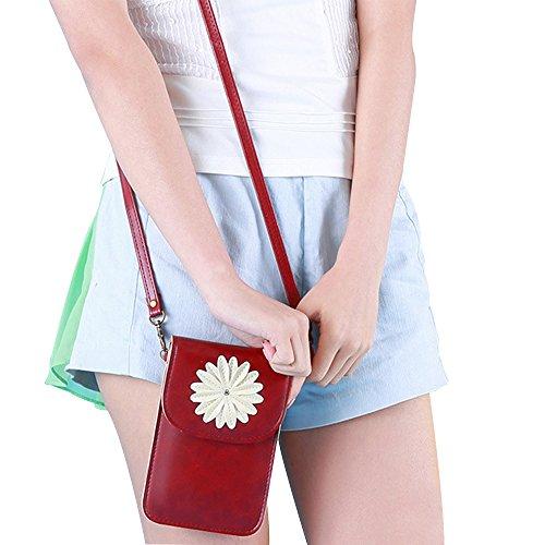 Contever® Retro Patrón del Crisantemo Funda / Bolso de Teléfono Móvil con la Pantalla Táctil para Teléfono menos que 6 Pulgadas Cuero PU Mujer Bolso Bandolera / Bolsa de Hombro -- Vino