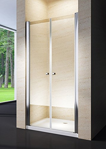 Porta doccia saloon cristallo 6mm trasparente alluminio cromo h.190cm AGNES (90cm (88/92))