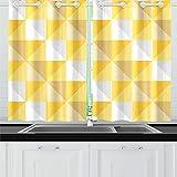 JINCAII Triangolo Geometrico Giallo Beige Tende da Cucina Tende della Finestra per caffè, Bagno, Lavanderia, Soggiorno Camera da Letto 26 x 39 Pollici 2 Pezzi