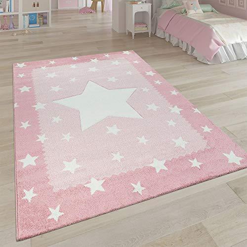 Paco Home Alfombra Infantil Habitación Infantil 3D Adorable Ribetes Diseño Estrellas Rosa Pastel, tamaño:140x200 cm