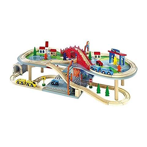 """Small Foot by Legler Eisenbahn mehrstöckig """"Malte"""" aus Holz, riesengroßer Spielspaß auf zwei Etagen, 70-teilig mit reichhaltigem Zubehör und 2 Zügen, kombinierbar mit anderen"""