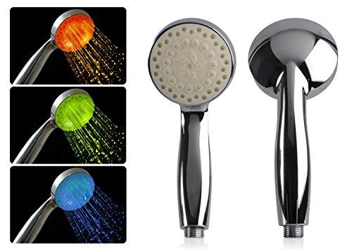 DONZO Design LED Disco Duschkopf / Dusch-Brause mit automatischem 7-fach schnellem Farbwechsel - nicht temperaturabhängig - mit LED Beleuchtung - Chrom -