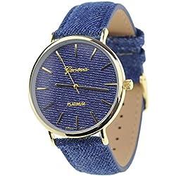Unisex Geneva Japanese Movement Gold-Tone Dark Denim Covered Faux Leather Strap Watch