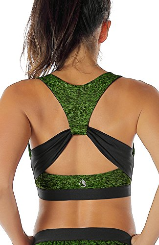 icyzone Damen Sport-BH mit Starker Halt Gepolstert Bustier Stretch Sports Bra Top Fuer Yoga Fitness-Training (M, Green Heather)
