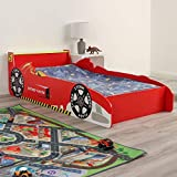Wido Kids Racing Car Bed Toddler Wooden Frame for Mattress Size 140x70cm Junior Children's Theme Bedroom
