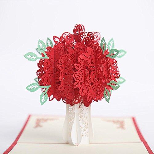 prochive 3D Pop up Rose Grußkarten Fantastische Blumen handgefertigt Geschenk Karte für Valentinstag Geburtstag Jahrestag Einladung Hochzeit Love Geschenke (Baby-segen-einladungen)