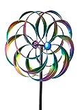 Formano Windrad Metall Garten Blume Stange zum stecken Groß Bunt 52/160 cm 1 Stück | Gartendeko Windspiel Windmühle Dekoidee