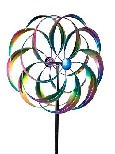 Formano - Windrad für den Garten aus Metall - Windräder Windspiel Windmühle doppelt Lila/Blau/Gelb/Rot 52/160cm Groß