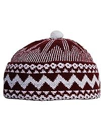 5a895e60798 Red Zigzag Design Muslim Beanie Kufi Hat Crown w  White Ball - One-size