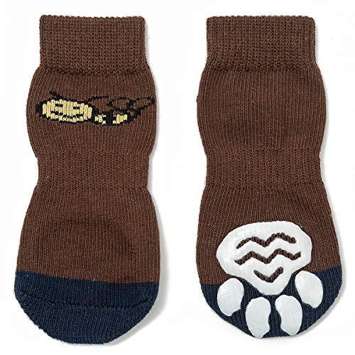 Pet Heroic Indoor Anti-Rutsch Socken für Hunde und Katzen |6 Größen von S bis 3XL für kleine-riesige Tiere | Pfotenschutz und Traktion Dank Silikon-Gel - Socke-tier-mustern