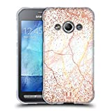 Head Case Designs Rose Gold Marmor Glitzer Druecke Soft Gel Hülle für Samsung Galaxy Xcover 3