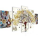 Bilder Gustav Klimt Baum des Lebens Wandbild 200 x 100 cm Vlies - Leinwand Bild XXL Format Wandbilder Wohnzimmer Wohnung Deko Kunstdrucke Gelb 5 Teilig MADE IN GERMANY Fertig zum Aufhängen 004651a