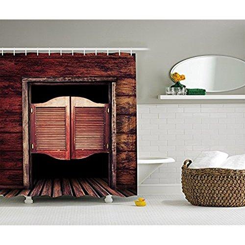 Yeuss Western-Dekor, aus Holz, alte Vintage Rustic Wilder Westen, Cowboy-leicht Tür, Polyester, Stoff Badezimmer Dusche Vorhang-Set mit Haken, Braun mit 60