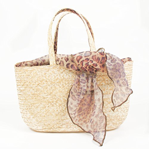 Borsa in paglia 37 x 12x20 cm con foulard fantasia. Made in Italy Lopardata