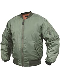 "Mens MA1 US Air Force Flight Pilot Bomber Jacket US Air Force (Large: 42-44"", Green)"