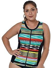 558b44957c Eachbid Womens Bohemian Plus Size Stripe Printed Bikini Top Underwired  Strappy Sling Tankini Swim Vest Beachwear
