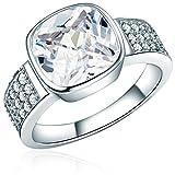Rafaela Donata Damen-Ring 925 Sterling Silber Zirkonia weiß - Silberring mit Stein farblos in Solitär-Optik 60800056