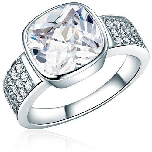 -Ring 925 Sterling Silber Zirkonia weiß - Silberring mit Stein farblos in Solitär-Optik 60800056 ()