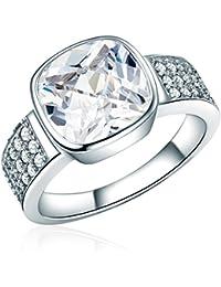RAFAELA DONATA 925/- Sterling Silber rhodiniert Ring quadratisch Zirkonia weiß