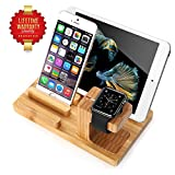 AIYIBEN Apple Watch Stand, Bambus Charge Dock Halter für Apple Watch, Docking Station Cradle Halterung für iPhone iPod iPad und andere Handys Tablet (Yellow)