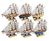 Dedoot - Set di 6 modellini di Barca a Vela in Miniatura, Realizzati a Mano, Stile Vintage, 14 x 12,7 x 3 cm, per Ornamento da Tavolo, Tema Oceano e Decorazione per la casa, 6 Colori
