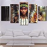 cchpfcc Leinwand Kunst HD Gedruckt Malerei Modulare Mädchen Bilder Home Decor Foto 5 Panels Indische Figur Frauen Poster Wandkunst Kein Rahmen