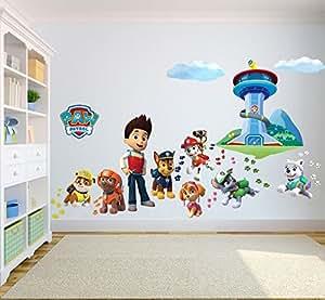 paw patrol wandtattoo 3d schlafzimmer jungen m dchen. Black Bedroom Furniture Sets. Home Design Ideas