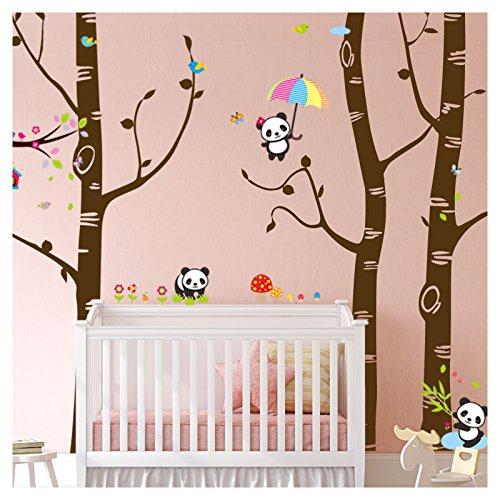 Wandora W1505 Wandtattoo XXL Birkenstämme + Pandabären I orangebraun (BxH) 281 x 250 cm I Baby Aufkleber Kinderzimmer Wandaufkleber Wandsticker