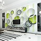 Sijoo Carta da Parati Moderna 3D Verde Albero Cerchio murale Arte Astratta murale Soggiorno TV Divano Sfondo Carta da Parati 3D-250cm(w) x 175cm(h)