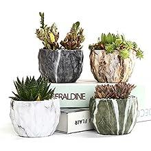 SUN-E Modern style Marbling Ceramic Flower Pot Succulent/Cactus Planter Pots Container Bonsai Planters With Hole 8.5 cm Idea(4 In Set)