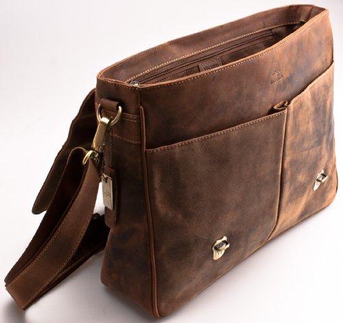 Visconti Hunter - Messenger Bag - A4 Laptop-Tasche - Arbeitstasche - geöltes Antik-Leder - Hellbraun - # 18716 Oiled Tan
