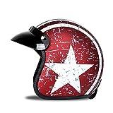 Woljay 3/4 Offener Sturzhelm, Helmet Motorrad-Helm Jet-Helm Scooter-Helm Vespa-Helm Halbhelme Motorrad Helm Flat mit Rebellen Star Graphic Rot Weiß (XXL)