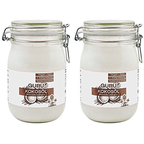 Guru Kokosöl nativ und naturrein -Bio Qualität- 1. Kaltpressung - Rohkost - Vegan - Bio-Kokosfett, (2 x 1000ml Bügel-Glas)