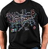Londres transporte subterráneo de Londres - Tubo camiseta del mapa (Negro) Pequeñas