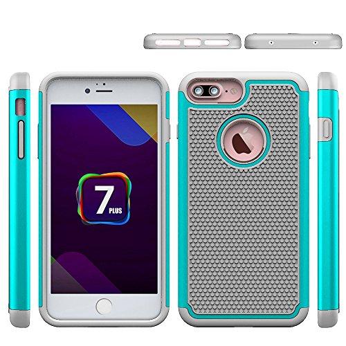 iphone 7 Plus Hülle, CMID Handy Hard Case Cover Hybrid Dual Layer Rugged Silikon Schutzhülle für iphone 7 Plus (Grau) Grau