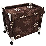 HOMIES INTERNATIONAL Brings 1 PIECE Multipurpose European Style Floral Design Fold able Trolley Laundry Basket / Bag / Hamper with Wheels and Lid for Domestic and Commercial purposes. Size: LARGE (34 * 34 * 67 cm), Color: BROWN