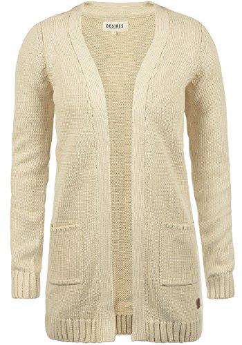 DESIRES Paula Damen Strickjacke Cardigan mit offenem V-Aussschnitt aus hochwertiger Baumwoll-Mischung, Größe:S, Farbe:Sandshell (0265) (Pullover V-neck Baumwoll-mischung)