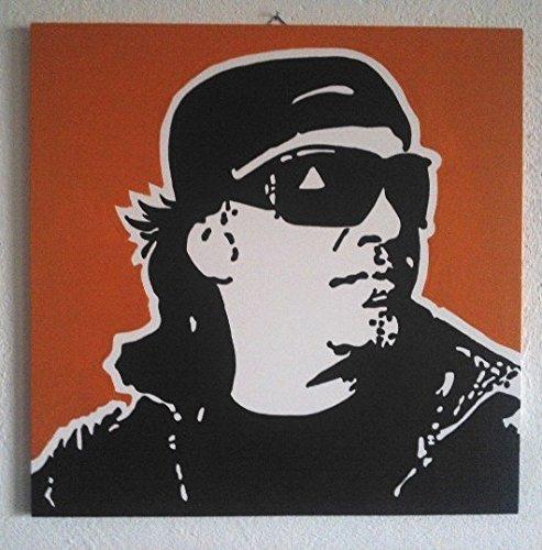VASCO ROSSI QUADRO MODERNO PANNELLO LEGNO MDF DIPINTO A MANO POP ART (formato formato 50 x 50 cm, sfondo arancio)