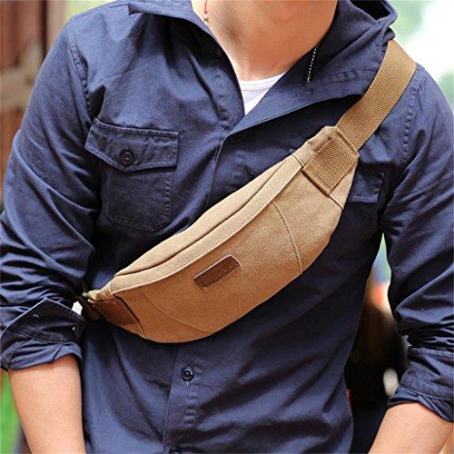 Global-Herren-Multifunktionstaschen im Freien Sporttasche Brusttasche tote Fliege Leinentasche Mann Tasche Freizeit Kuriertasche Khaki