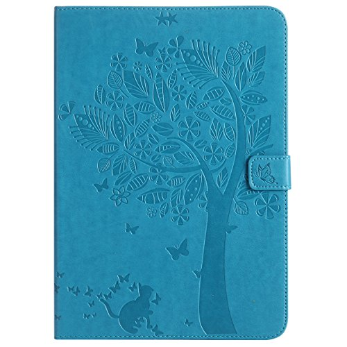 Custodia Galaxy Tab A 9.7, Galaxy Tab A 9.7 Flip Case Leather, SainCat Custodia in Pelle Cover per Samsung Galaxy Tab A 9.7 T550/T555, Anti-Scratch Book Style Protettiva Caso PU Leather Flip Portafogl Blu