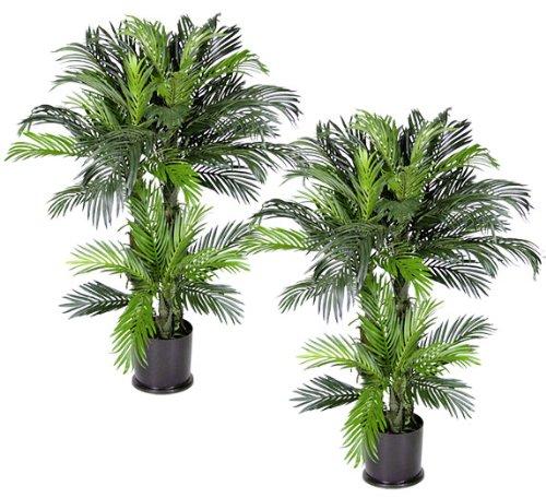 Arcadia Seide Plantation bereits getopft 4-Zoll Triple Phoenix Künstliche tropischen Palmen, Set von 2
