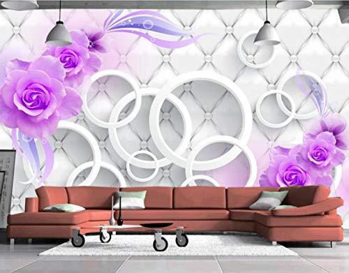 Fototapete 3D Tapete Weichen Beutel Leder Purple Rose Wand Fresken 3D Effekt Vliestapete Wandbilder Wanddeko - Barock Beutel