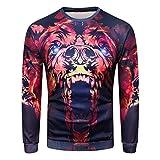 Bluse Herren O-Ausschnitt Sweatshirt Langarm 3D Printed Tops GreatestPAK