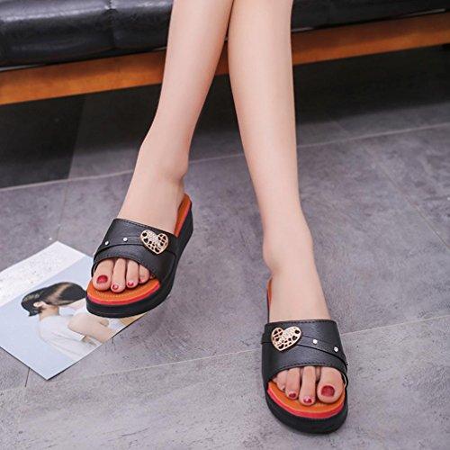 Transer® Damen Slipper Blockabsatz Schwarz Weiß Plattform Thick Hacke Herzform Monk-strap Hausschuhe Schwarz ZmmcmZ