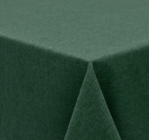 Tischdecke Leinen Optik, FARBE wählbar, Gartentischdecke Wasserabweisend, Rund 140 cm, Dunkelgrün, Beautex