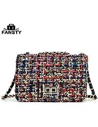 HITSAN INCORPORATION 2016 European and American Women Messenger bag Fashion  Metal Chain Female Crossbody bags Fabric 0ef5ab1ca4